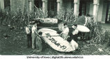 Students building monument for Homecoming, The University of Iowa, 1940s