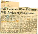 175 German war prisoners will arrive at Fairgrounds