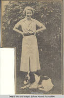 Elizabeth Burden standing with dog (Bobby) at feet