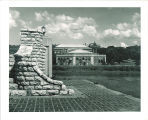 Western end of pedestrian bridge and west view of Iowa Memorial Union, the University of Iowa, 1940s