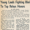 Drake Times-Delphic, 1944, Young Leads Fighting Illini to Top Relays Honors.