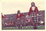 University of Iowa Scottish Highlanders Mary Ann Jenkins and Sharon Sauder with batons, 1970s?