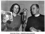 KMA radio broadcast with Evelyn Birkby and guest Vicar Henry Robbins, local pastor, discussing child care, Shenandoah, Iowa, 1950