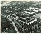 Aerial view of University of Iowa Hospitals and Clinics, the University of Iowa, circa 1955