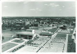 Aerial view of Hancher Auditorium and parking lot, the University of Iowa, 1970s?