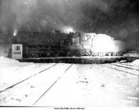 Chicago and Northwestern Railroad engine in snowstorm
