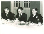 Fred Pownall at a journalism banquet, The University of Iowa, 1950s