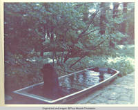 Sadie, the dog sitting in boat/pool, outside white house along lane