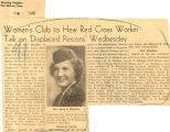 Women's club to hear Red Cross worker talk on 'displaced persons' Wednesday