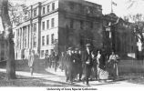 Students leaving Schaeffer Hall, The University of Iowa, 1920