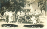 Corliss family posed with car, Littleton, Iowa, 1910s