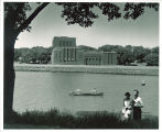 Canoes on Iowa River by Theatre Building, The University of Iowa, 1950