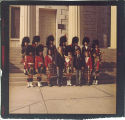 Scottish Highlanders on steps of Old Capitol, The University of Iowa, November 7, 1970
