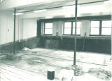 Zoology Alumni Auditorium, lecture hall 201, gutted for remodeling, The University of Iowa, 1982