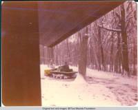 Snow plow moving snow
