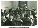Student giving a speech in class, The University of Iowa, early 1940s
