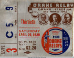Drake Relays, 1939, ticket stub