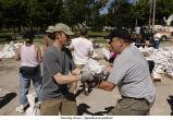 Volunteers sandbagging, The University of Iowa, June 14, 2008