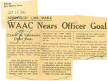 WAAC nears officer goal