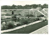 East end of pedestrian bridge and fountain behind Iowa Memorial Union, the University of Iowa, 1930s?