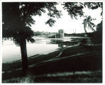 View of Theatre Building from north of lagoon, The University of Iowa, 1930s
