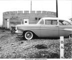 Car parked outside Hokkai Nojo communal farm, Hokkaido, Japan, 1965