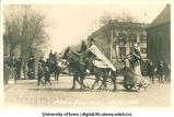 Chariot and charioteer in Mecca Day parade, The University of Iowa, 1916