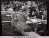 Women seated at picnic table