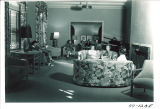 Women relaxing in Currier Hall's redecorated lounge, The University of Iowa, November 28, 1949