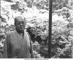Atarashiki Mura commune founder Mushanokoji Saneatsu, garden of his house, Tokyo, Japan, 1965