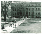 Aerial view of students on the Pentacrest near Schaeffer Hall, the University of Iowa, 1950