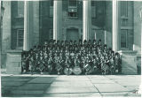Scottish Highlanders on steps of Old Capitol, The University of Iowa, 1952