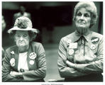 Rosa Cunningham and Mary Louise Smith listening to anti-ERA speech at state GOP convention, Iowa, June 1980
