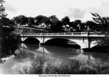 Iowa Avenue Bridge from east bank, Iowa City, Iowa, ca. 1930