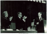 Mary Louise Smith, Vice President Nelson Rockefeller, and Gov. Robert Ray at the Lincoln Day Dinner, Des Moines, Iowa, April 1976