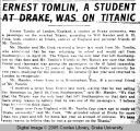 Ernest Tomlin, a student at Drake, was on Titanic