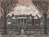 Woodcut scene of the front exterior of the university president's house, The University of Iowa, 1940s