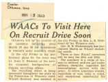 WAACs to visit here on recruiting drive soon