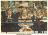 Betty Ford and sons applauding at the National Republican Convention, Kansas City, Mo., August 1976