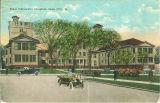Street scene in front of State University Hospital, the University of Iowa, 1930s?