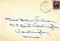 Self-Addressed, Stamped Envelope handwritten to Miss Helen Wilson