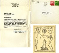 Samuel X. Radbil's Thank You letter to Helen Patricia (Patsy) Wilson exchanging bookplates.