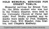 Hold memorial services for Ernest Tomlin