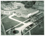 Southeast aerial view of Iowa Memorial Union, the University of Iowa,  btw 1955 and 1960