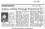 """Author, scholar Prestage honored at UI,"" October 24, 1990"