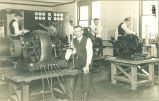 Electrical engineering students with electrical equipment, The University of Iowa, 1910s