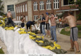 Volunteers sandbagging outside Iowa Memorial Union, The University of Iowa, June 11, 2008