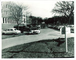 South entrance and parking lot at the Iowa Memorial Union, the University of Iowa, 1965
