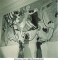 Students painting modern art wall hangings, The University of Iowa, March 1940