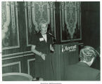 Mary Louise Smith speaking at podium at Marriott Twin Bridges Motor Hotel, Arlington, Va., 1974